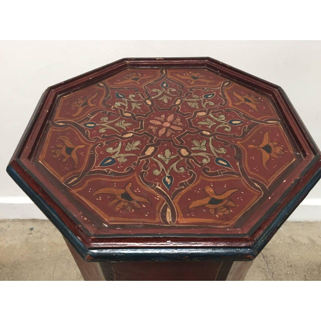 Hand-Painted Moroccan Pedestal Table For Sale - Image 11 of 13