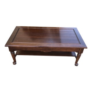 1990s Early American Wooden Coffee Table With Pad Feet For Sale
