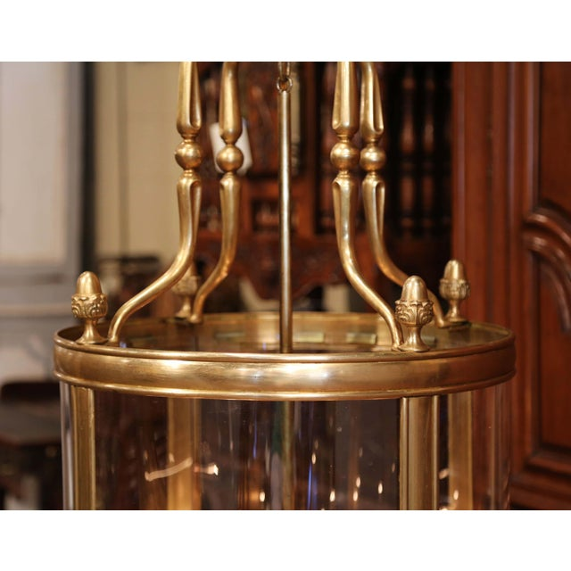 Mid-20th Century French Six-Light Brass Lantern With Decorative Finials For Sale - Image 4 of 9