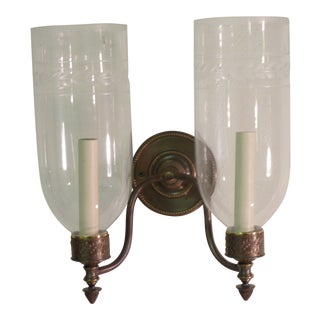 Late 20th Century Vintage Hurricane Glass Sconce For Sale