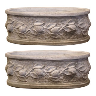 Vintage French Carved Oval Concrete Planters With Lemon and Leaf Decor - a Pair For Sale