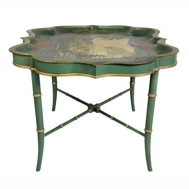 Victorian Green Painted Tole Tray Table For Sale - Image 9 of 11