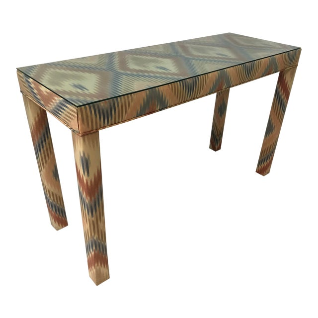 Vintage Upholstered Parsons Console Table For Sale