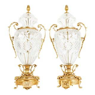Footed Gilt Bronze-Mounted / Cut Crystal Urns - a Pair For Sale