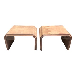 Pair of Karl Springer Mid Century Modern Goat Skin Parchment Tables