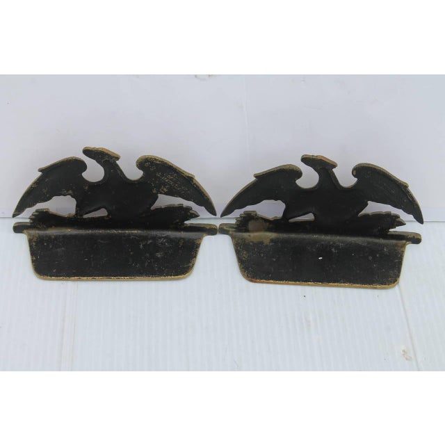 Brown Brass Patriotic Eagle Bookends For Sale - Image 8 of 9