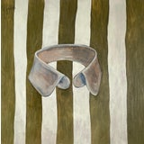 """Image of """"Striped Collar (Green)"""" Contemporary Still Life Oil Painting For Sale"""