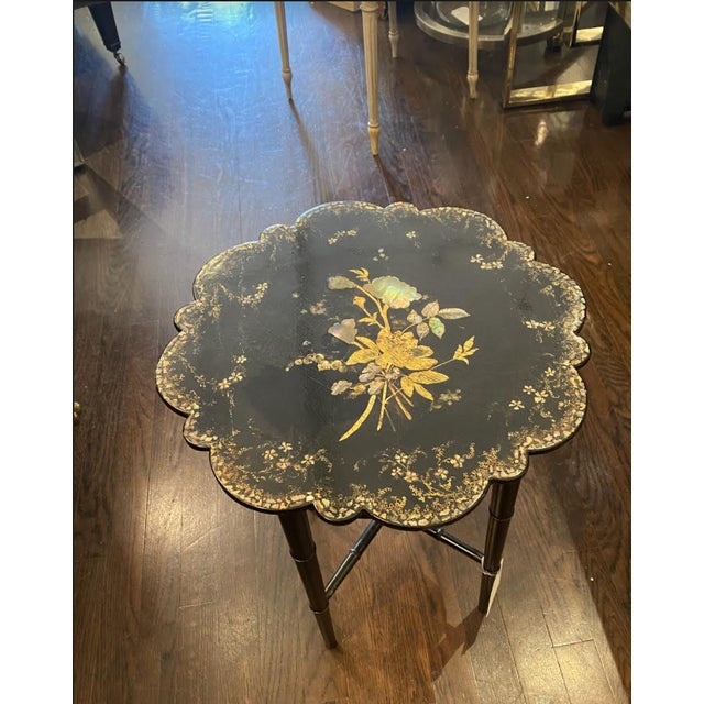 Faux Bamboo Small Chinoiserie Side Table or Stool Black Faux Bamboo Legs For Sale - Image 7 of 7