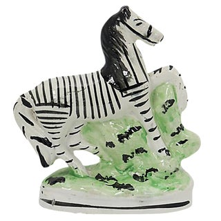 Antique English Staffordshire Zebra For Sale