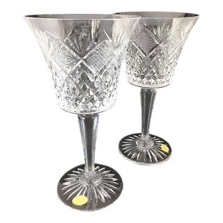 1970s Cut Crystal Bell-shaped Tall Wine Glasses With Cut Stems - a Pair For Sale