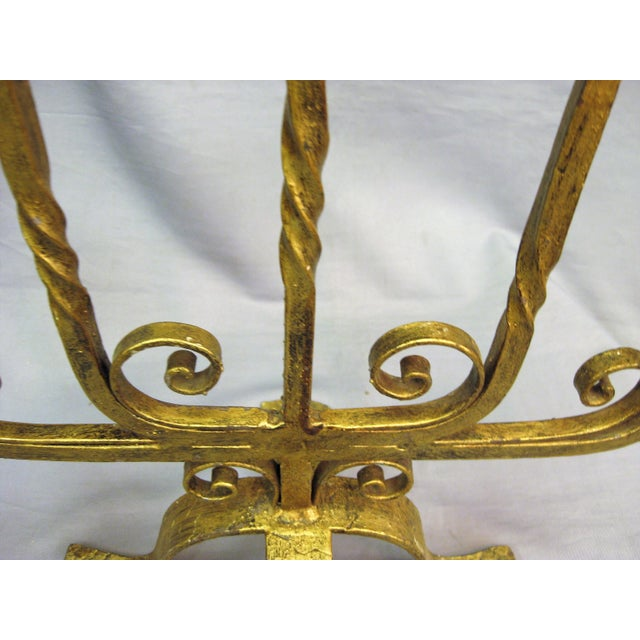 1940s 1940s French Large Gilt Iron Five Arm Candelabra For Sale - Image 5 of 8