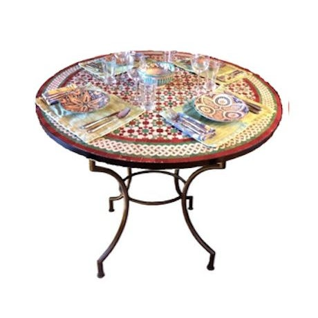 """Moroccan Zellij Red, Green, Yellow and White Mosaic Tile 52"""" Round Table & 4 Wrought Iron Arm Chairs This table was hand..."""