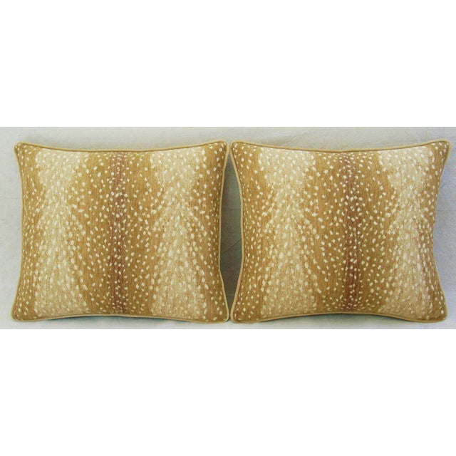 Pair of custom-made pillows in a contemporary/never used ultra-soft, woven velvet-chenille cotton blended fabric,...