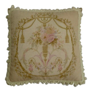 French Neoclassical Needlepoint Feather Pillow For Sale