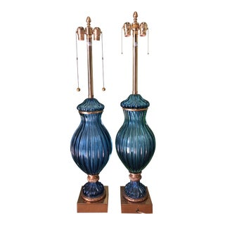 Marbro Blue Table Lamps - A Pair For Sale