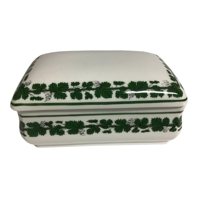 Vintage Meissen Porcelain Full Green Vine Trinket Box For Sale