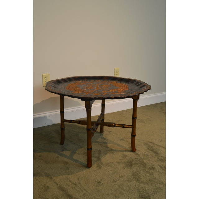 Black & Gold Crackle Painted Finish Pie Crust Tray Top Faux Bamboo Coffee Table For Sale - Image 12 of 13