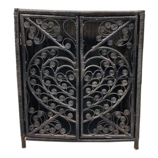 """Vintage Black Woven Wicker """"Peacock"""" Cabinet Table For Sale"""