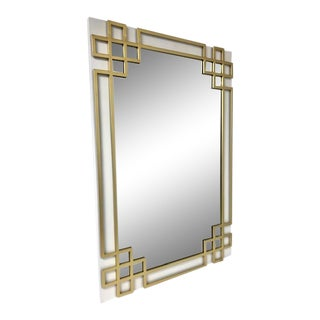 Overlay White & Gold Leaf Metal Wall Mirror For Sale