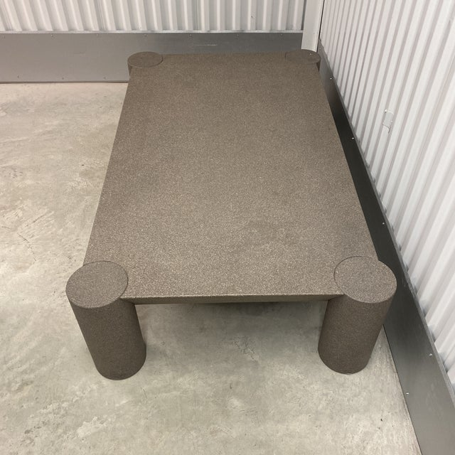 Angelo Mangiarotti Grey Postmodern Beveled Coffee Table With Thick Column Legs For Sale - Image 4 of 13