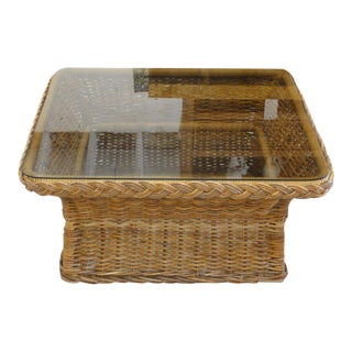 Wicker Works Braided Rattan Coffee Table For Sale