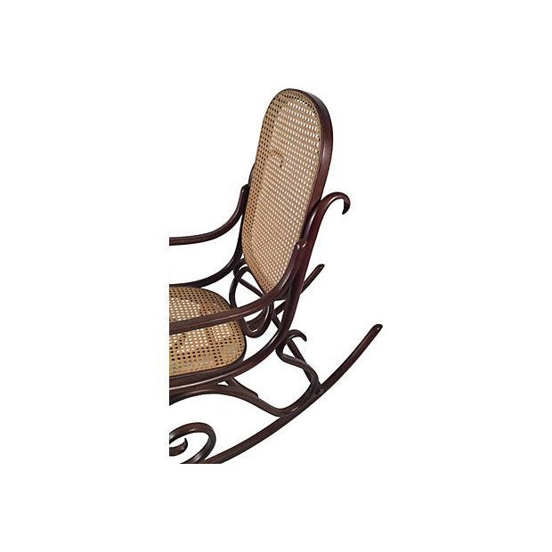 Thonet Attri. Caned Bentwood Rocking Chair - Image 6 of 7
