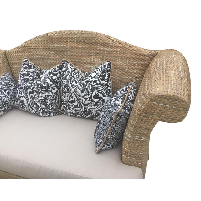 Boho Chic Natural Woven Rattan Settee For Sale - Image 3 of 9