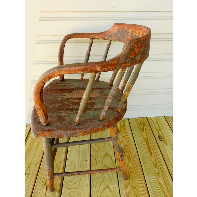 Antique Rustic Painted Saloon Chair For Sale In San Antonio - Image 6 of 8