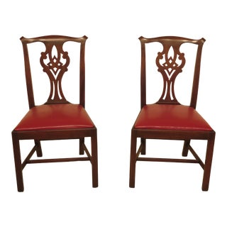 1970s Vintage Henkel Harris Chippendale Mahogany Model 101 Side Chairs- A Pair For Sale