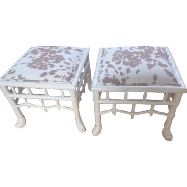 Chinoiserie Chic Hollywood Regency Stools - Pair - Image 1 of 11