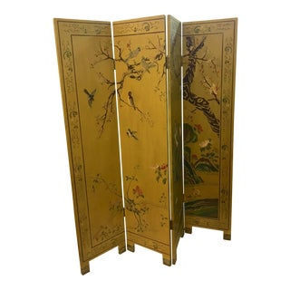 Vintage Japanese 4 Panels Lacquered Screen For Sale