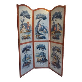 18th Century European Hand Painted 3 Panel Screen For Sale
