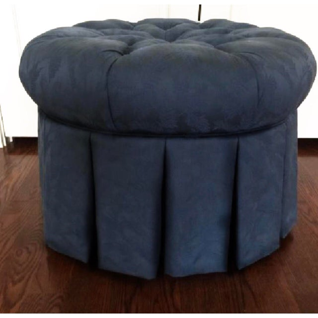 Tufted Black Brocade Round Traditional Ottoman - Image 3 of 4
