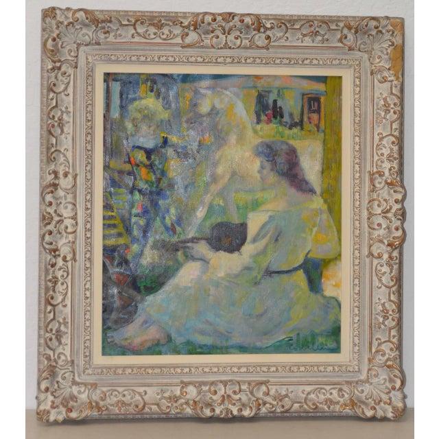"Luigi Corbellini (1901-1968) ""The White Horse"" Original Oil Painting C.1950s For Sale - Image 10 of 10"