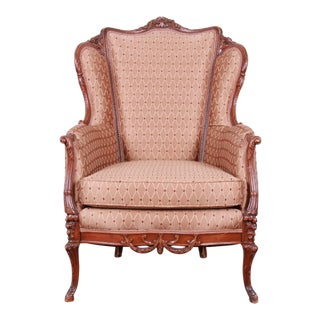 Antique French Carved Wing Back Lounge Chair For Sale