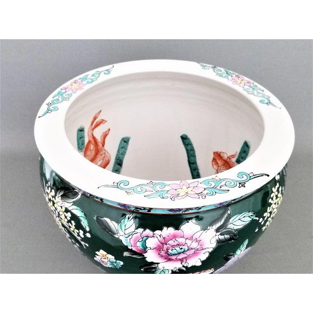 Large Vintage Ceramic Porcelain Famille Verte Jardiniere Planter