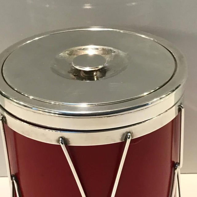 Italian Italian Modern Silver and Leather Ice Bucket For Sale - Image 3 of 8