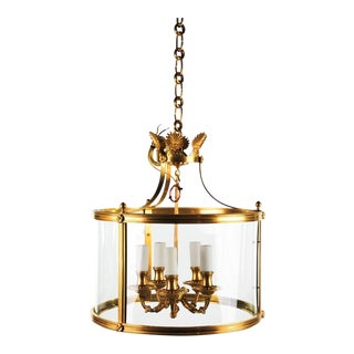 Contemporary Brass 5 Light Chandelier For Sale