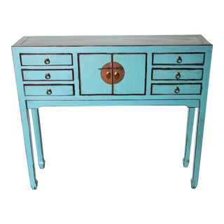 Chinese Blue Lacquer Console