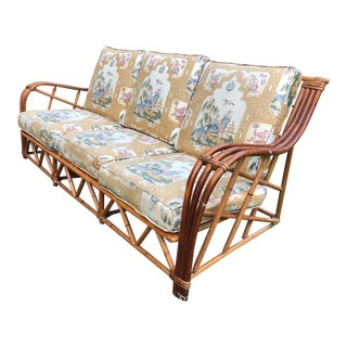 Vintage Rattan Sofa With Chinoiserie Fabric For Sale
