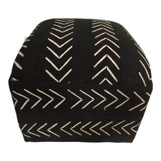 "Custom Made Lg Ottoman in African Malian Mud Cloth 18."" H by 18"" W For Sale"