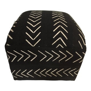 "LG Ottoman in African Malian Mud Cloth 18."" h For Sale"