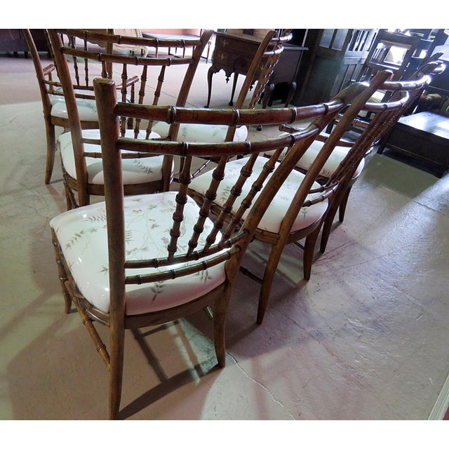 Brown Mid Century Faux Bamboo Dining Chairs - Set of 6 For Sale - Image 8 of 10