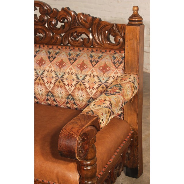 Spanish Carved Pine Bench - Image 4 of 10