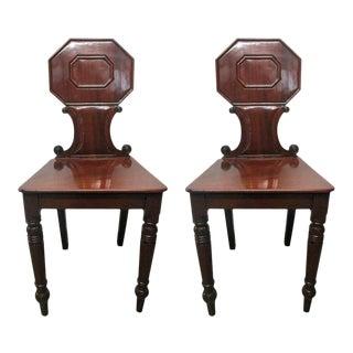 Pair of 19th Century English Mahogany Hall Chairs