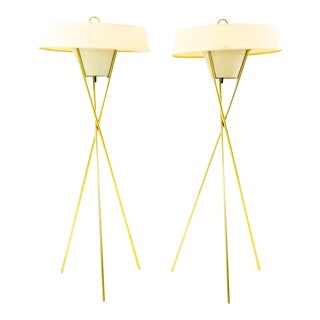 Gerald Thurston for Lightolier Mid Century Brass Tripod Floor Lamps - a Pair For Sale