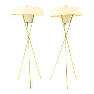 Gerald Thurston for Lightolier Mid Century Brass Tripod Floor Lamps - Pair For Sale