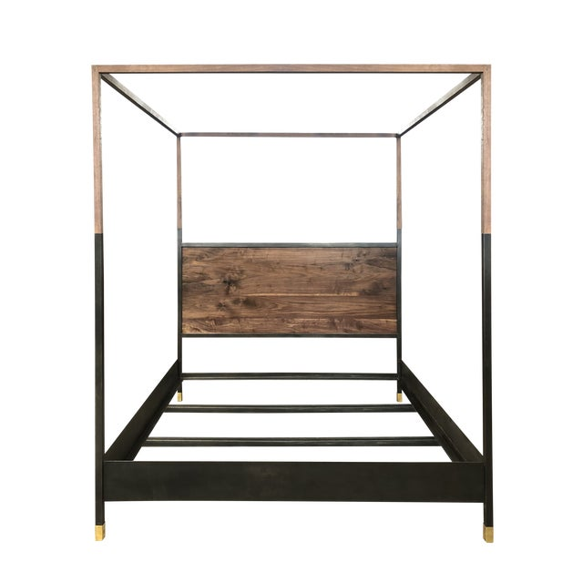 The Hampson Bed- four poster king or queen wooden metal canopy bed is a modern, industrial style bed with handcrafted...
