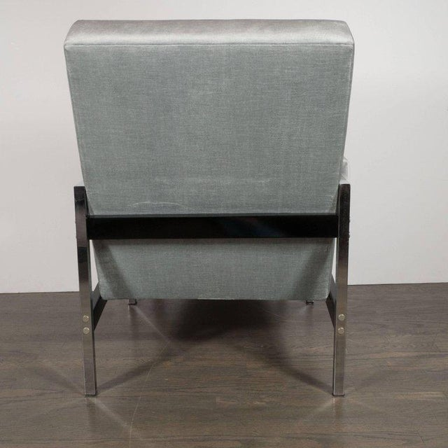 1970s Mid-Century Modern Ebonized Walnut and Chrome Armchairs For Sale - Image 5 of 10