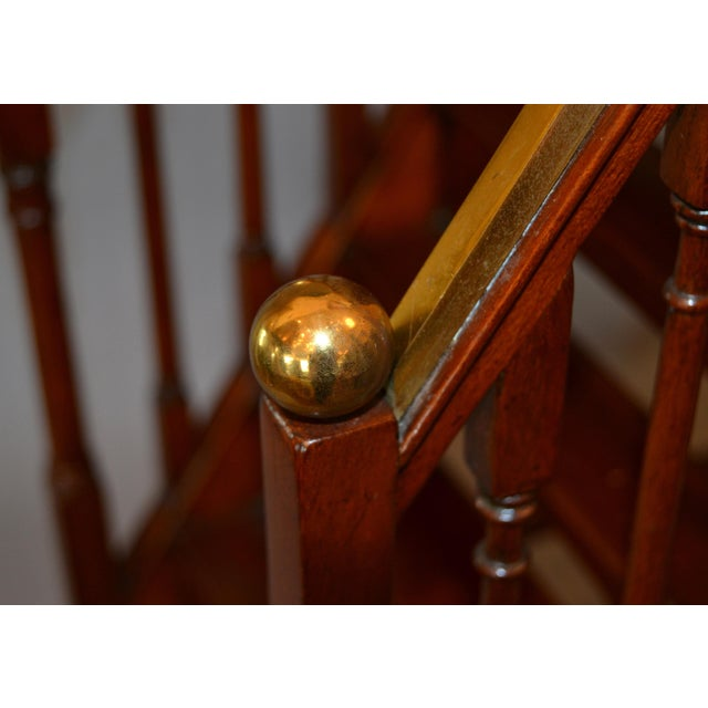 Architectural Decorative Victorian Walnut & Brass Library Steps, Ladder, Stairs For Sale - Image 10 of 13